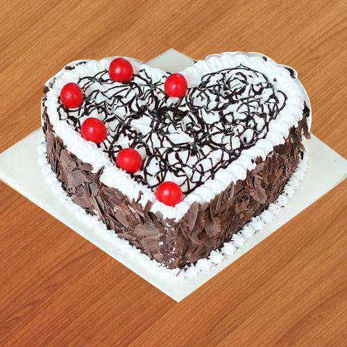 Delightful Heart-Shape Black Forest Cake