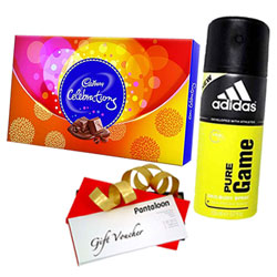 Celebration Gift Pack of Adidas Perfume, Chocolate and Pantaloons Voucher