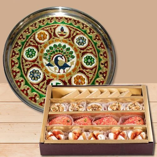Wonderful Meenakari styled Subh Labh Stainless Steel Thali with Haldiram Assorted Sweets