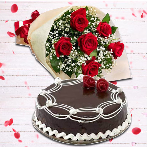 Glamorous 6 Red Rose Bunch and 1 Lb Chocolate Cake