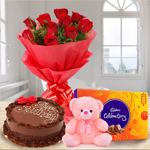 Cute Teddy Surprise with Chocolate Cake, Red Rose Bouquet N Cadbury Celebration