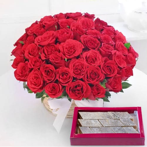 Mesmerising Red Roses and tempting Kaju Barfi