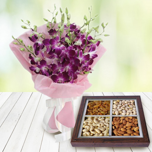 Energetic Dry Fruits Pack with Designer Orchids Bouquet