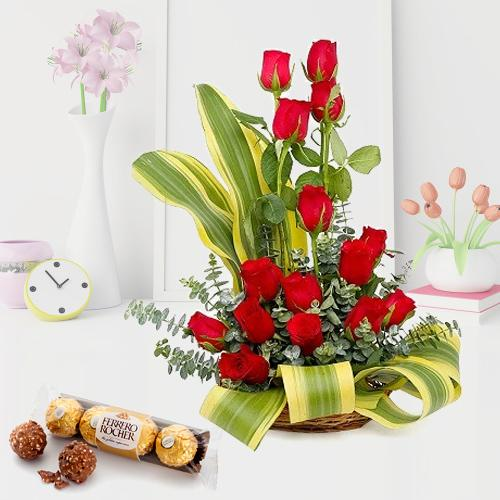 Dazzling Combo of Red Roses Arrangement N Ferrero Rocher