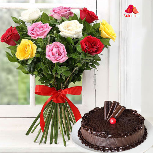 Dozen Assorted Roses n Cake
