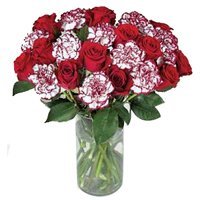 Spectacular bunch of fresh Roses and Carnations