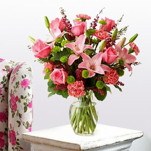 Classic Arrangement of Lilies, Roses and Carnations with Love and Affection<br>