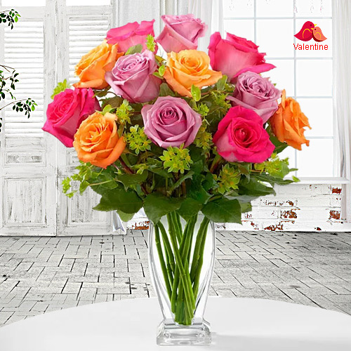 12 Assorted Colour Roses in Vase