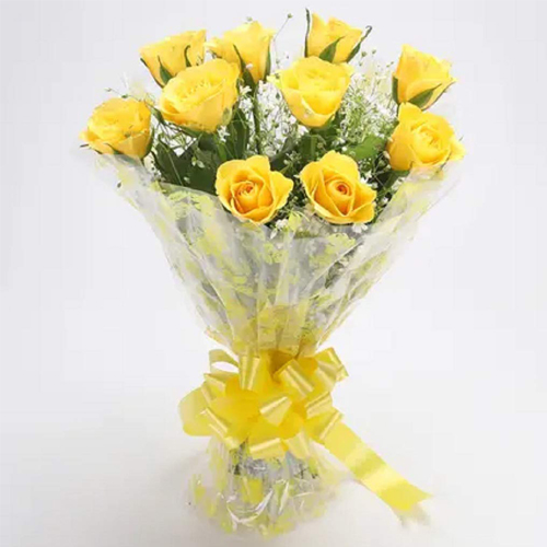 Mesmerizing Splash of Love Yellow Roses Brilliance Bouquet