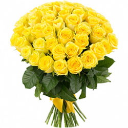Bright Hand Bunch of Yellow Color Roses