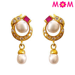 Pink Stone Studded Designer Genuine Pearl Pair of Earrings
