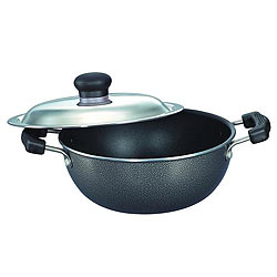 Exquisite Prestige Omega Select Plus Flat Base Kadai with SS Lid for Happy Kitchen