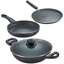Award-Winning Omega Deluxe Granite Non-Stick Cookware Set from Prestige