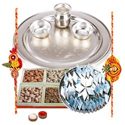 Amazing Rakhi Special Gift of Silver Plated Thali, Haldiram Kaju Katli N Dry Fruits Platter with 2 Free Rakhi, Roli Tilak and Chawal for your Dear Brother
