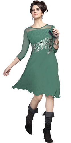 Fashionable Georgette Embroidered Kurti (Pastel Green)