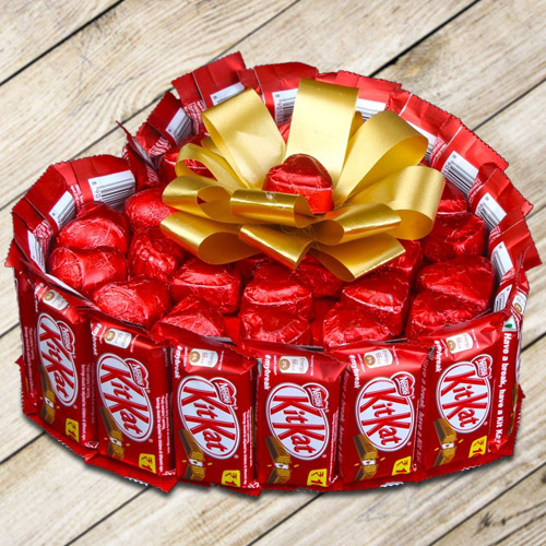 Tempting Heart Shape Bouquet of Nestle Kitkat with Handmade Chocolates