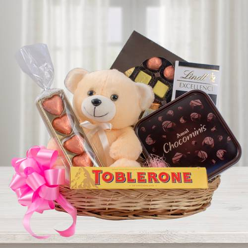 Wonderful Chocolate Gift Basket with Teddy