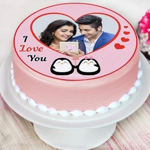 Delightful Personalized Strawberry Photo Cake for Propose Day