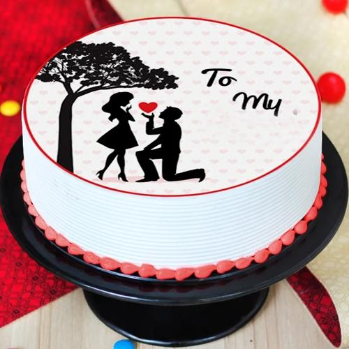 Tasty Customized Vanilla Flavor Photo Cake for Propose Day