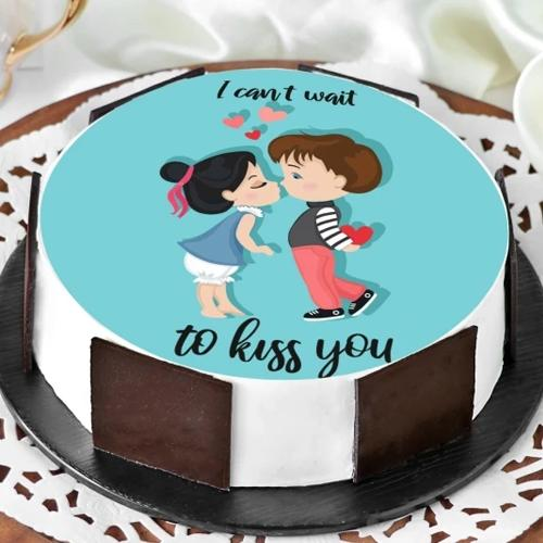 Delectable Vanilla Personalized Photo Cake for Kiss Day
