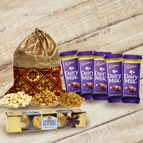 Assorted Dry Fruits Potli with Chocolates Gift Pack