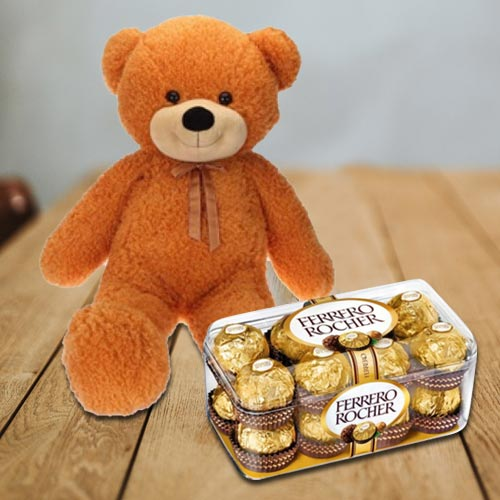 Super Big Teddy with Delicious Ferrero Rocher Chocolates