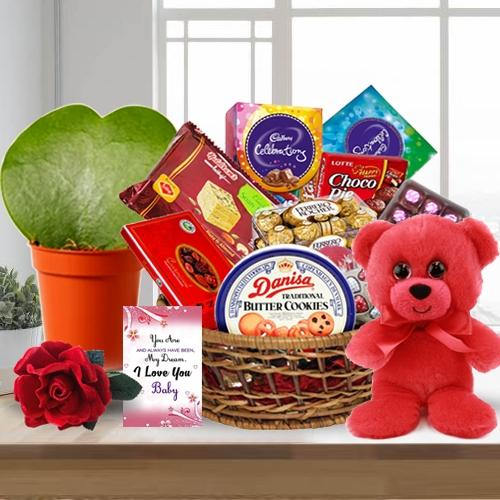 Enthralling Chocolate Assortments Gift Basket with Rose, Teddy N Plant