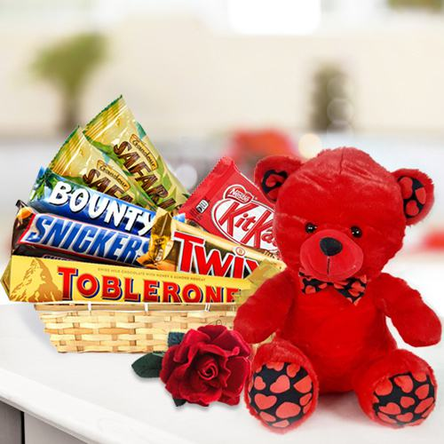 Delightful Chocolate Lovers Gift Basket with Teddy n Rose