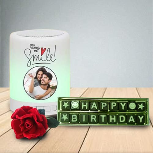 Marvelous Personalized Bluetooth Speaker N Handmade Chocolates Combo