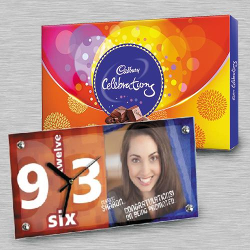 Fantastic Personalized Photo Table Clock n Cadbury Celebrations