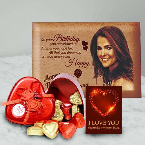 Impressive Personalized Love Frame with Heart Chocolates n ILU Card