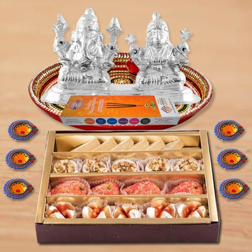 Diwali Puja Thali Hamper with Assorted sweets from Haldirams and Silver Plated Ganesh Lakshmi