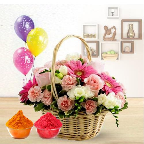 Colorful bouquet of beautiful Flowers and bright Balloons