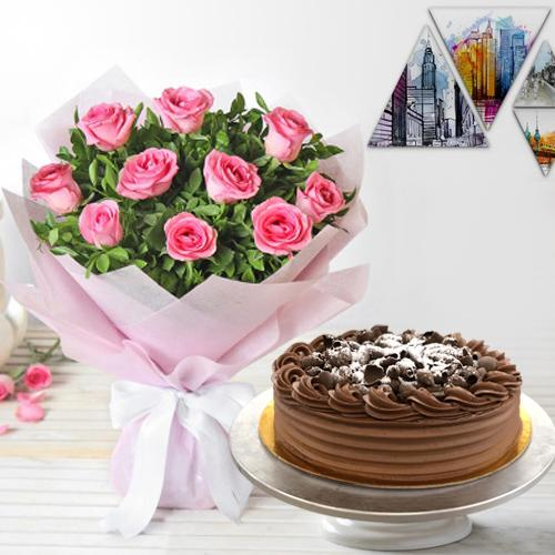 Pink Roses with Eggless Chocolate Cake