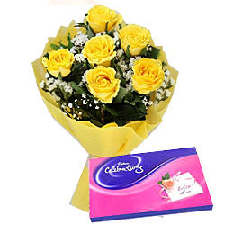 Faceted Yellow Rose Hand Bunch and Cadbury Assortment Chocolates