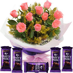 Pink Roses Hand Bunch N Cadbury Dairy Milk Bars