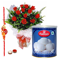 Attractive Present of Rose Bouquet and Rasgullas with Free Rakhi, Roli Tilak and Chawal for your Precious Brother on the Occasion of Rakhi
