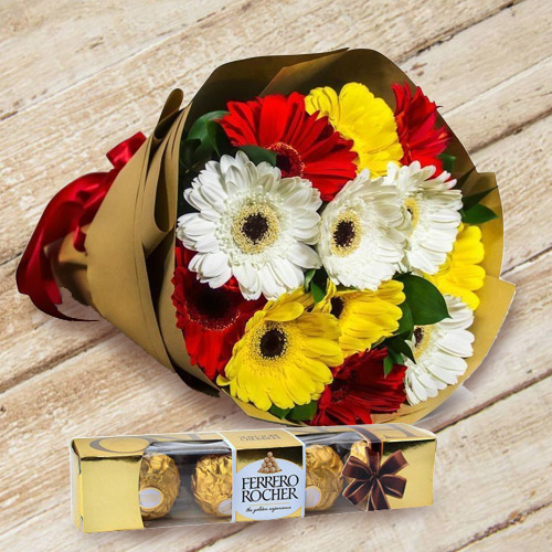 Gorgeous Gerbera Bouquet with Ferrero Rocher Chocolates