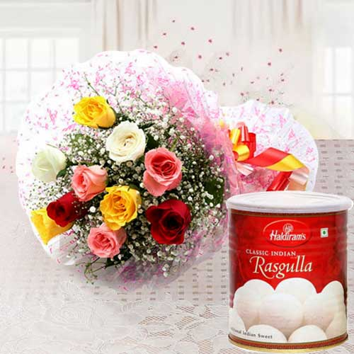 Impressive Mixed Roses with Satisfying Haldiram Rasgulla