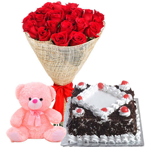 Birth-Day Dazzle Bouquet of Red Rose with Small Teddy and Black Forest Cake
