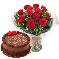 Anniversary Bliss Red Roses Bouquet and Chocolate Cake