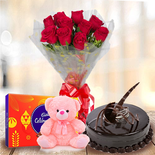 Anniversary Party Chocolate Cake with Red Rose Bouquet, Small Teddy and Cadbury Celebration