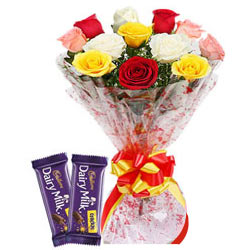Delicious Dairy Milk Crackle with Bouquet of Colorful Roses