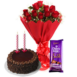 Delicious Cadbury Dairy Milk Silk, Chocolate Cake with Candles and Roses Bouquet