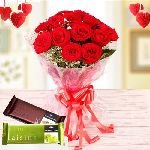 Elegant Gift Pack of Cadbury Chocolates with Red Roses