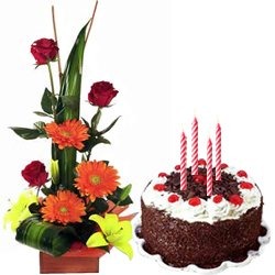 Charming Seasonal Flowers Arrangement with Black Forest Cake