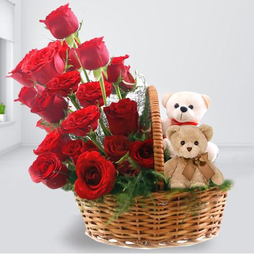 Admirable Basket Full of Red Roses with Twin Teddy