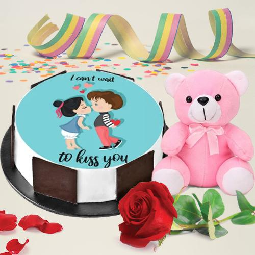 Vibrant Combo of Photo Cake with Single Rose N Cute Teddy