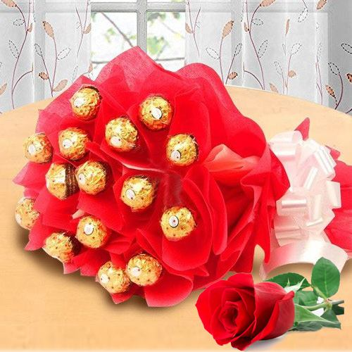 Marvelous Bouquet of Ferrero Rochher Chocolate with Single Red Rose