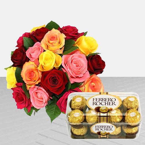 Pretty Roses and Ferrero Rocher Chocolates